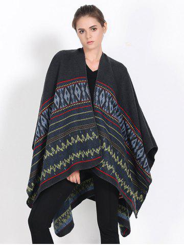Fancy Streetwear Geometry Thicken Wrap Shawl Cape Pashmina BLACK