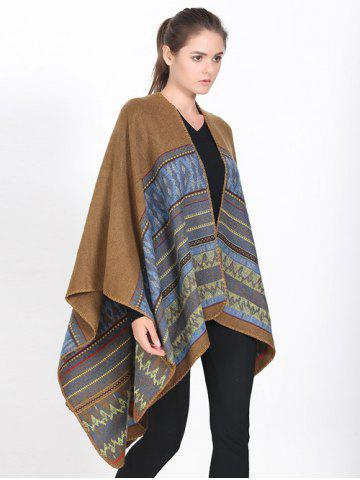 Store Streetwear Geometry Thicken Wrap Shawl Cape Pashmina LIGHT BROWN