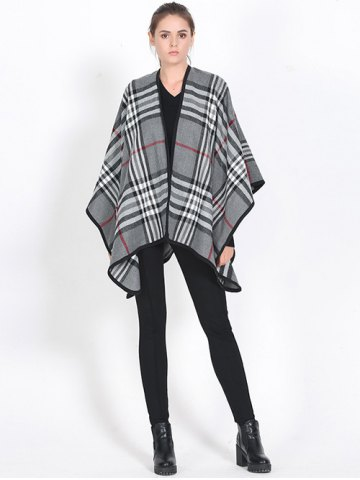 Online Britian Plaid Covered Edge Wrap Shawl Pashmina GRAY
