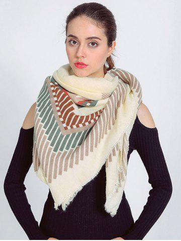 Outfits Streetwear Short Stripe Fringed Shawl Wrap Scarf BEIGE
