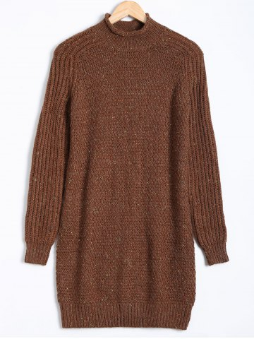 Affordable Paint Dot Ribbed Pullover Sweater BROWN XL