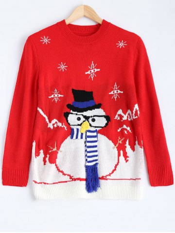 Buy Christmas Snowman Pattern Pullover Sweater