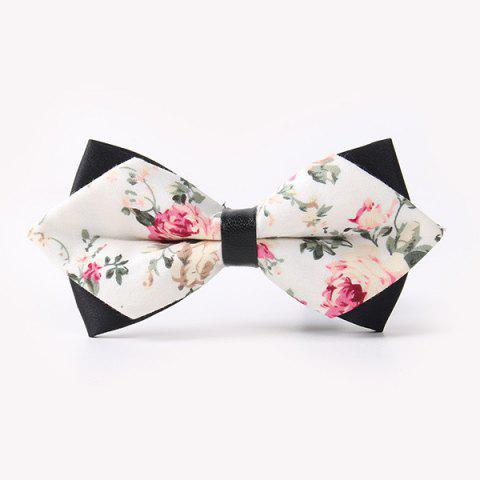 Latest Banquet Rose Sharp-Angled Double-Deck Bow Tie OFF WHITE