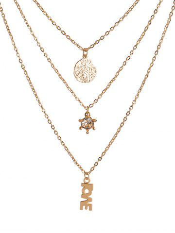 New Multilayer Life Tree Letters Rhinestone Pendant Necklace