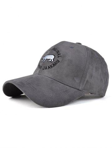 Best Fall Polar Bear Embroidery Faux Suede Baseball Hat GRAY