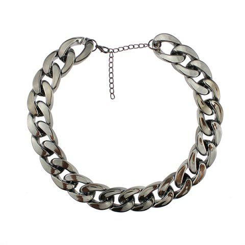Latest Chunky Thick Chain Adjustable Necklace GUN METAL
