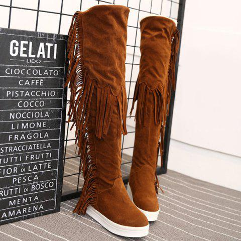 Hot Platform Fringe Hidden Wedge Thigh Boots