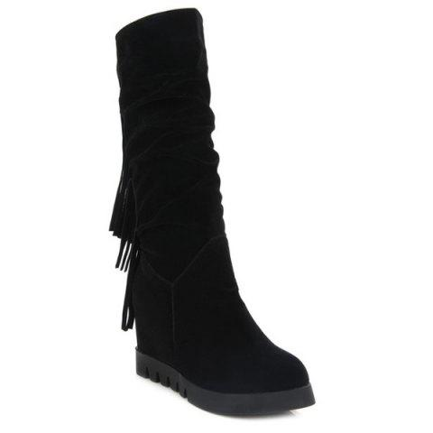 New Hidden Wedge Fringe Mid Calf Boots
