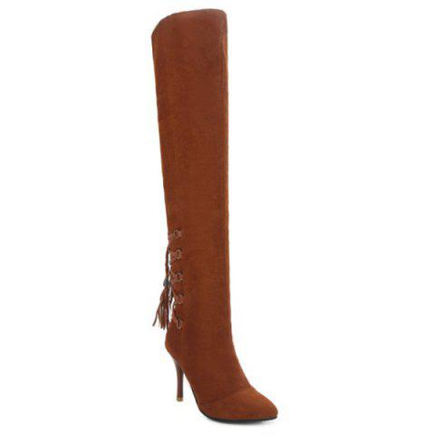 Pointed Toe Lace Up Tassels Thigh Boots - Brown - 38