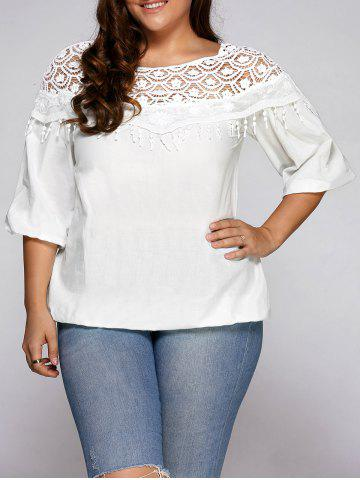 Outfit Fringe Lace Spliced Plus Size Blouse