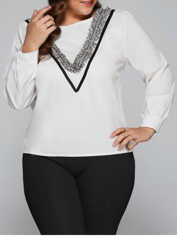 Online Plus Size Tassel V Design Long Sleeve Blouse WHITE 5XL