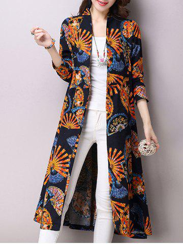 Unique Linen Blend Folding Fan Print Trench Coat