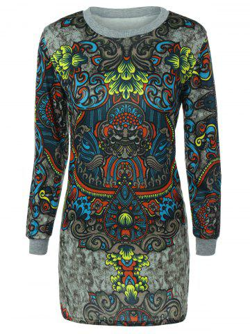 Cheap Long Sleeve Crew Neck Printed Dress