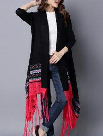 Fashion Fringed Hankerchief Hem Cardigan