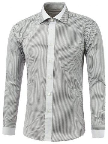 Outfit Long Sleeve Color Insert Pinstriped Shirt