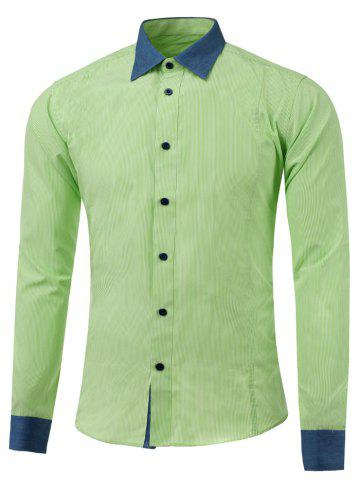 Buy Button Up Color Insert Pinstriped Shirt