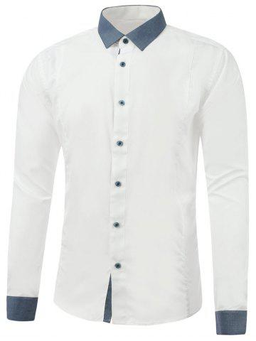 New Button Up Color Insert Long Sleeve Shirt