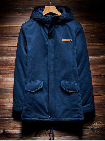 Cheap Zip Up Drawstring Hem Hooded Quilted Coat CADETBLUE 4XL