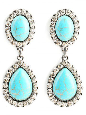 Best Faux Turquoise Water Drop Layered Earrings