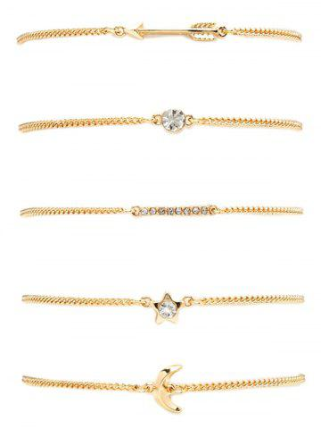 Best Rhinestone Pentagram Moon Arrow Bracelet Set - GOLDEN  Mobile
