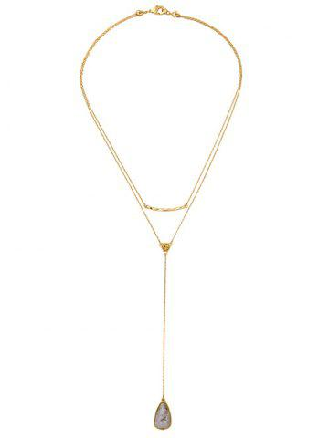 Cheap Natural Stone Water Drop Layered Necklace