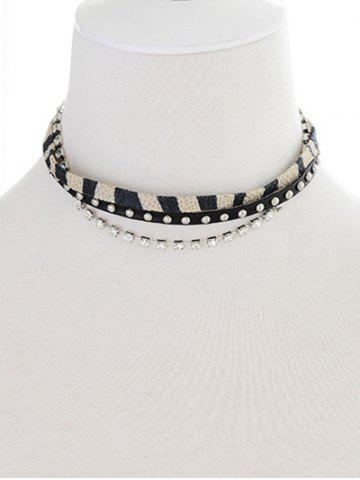 Best Faux Leather Rhinestone Rivets Choker
