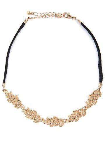 Discount Faux Leather Velvet Tree Leaf Choker
