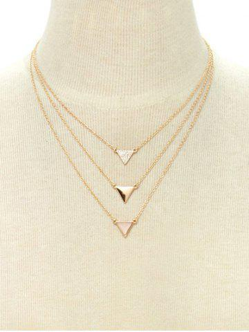 Outfits Rhinestone Triangle Pendant Layered Necklace