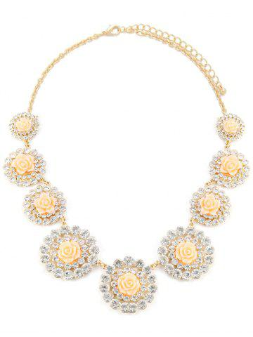 Store Rhinestone Rose Floral Necklace