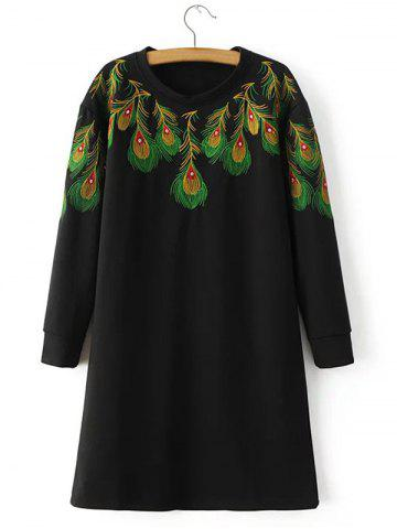 Fancy Loose Peacock Feather Embroidered Sweatshirt Dress BLACK L