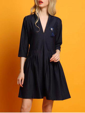 Striped Pendant Design Swing Dress - Purplish Blue - M