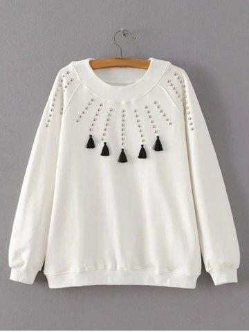 Shop Beaded Tasseled Design Pullover Sweatshirt WHITE L