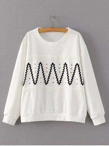 Latest Crochet-Trim Wave Rivet Design Sweatshirt