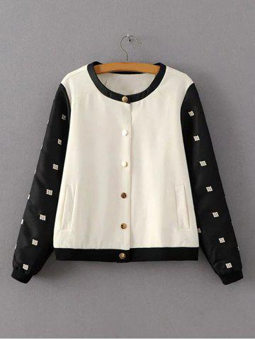 Unique Two Tone Embroidered Bomber Jacket WHITE/BLACK S