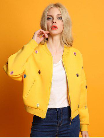 Chic Zip Up Tree Embroidered Bomber Jacket YELLOW L