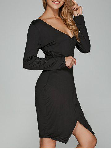 Store Long Sleeve V Neck Asymmetrical Dress BLACK XL