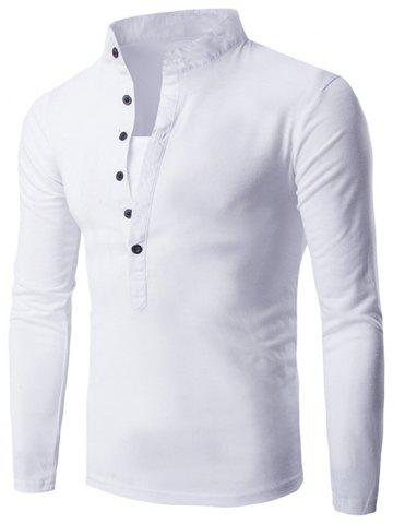 Fashion Long Sleeve Grandad Collar Button T Shirt - 2XL WHITE Mobile