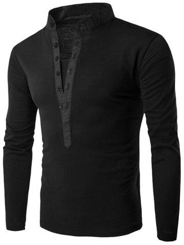 Long Sleeve Grandad Collar Button T Shirt - Black - 2xl
