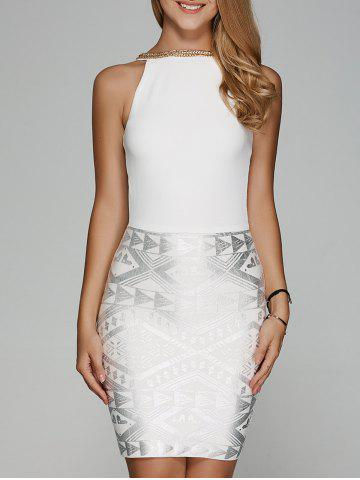 Chain Geometrical Skinny Club Dress - WHITE ONE SIZE