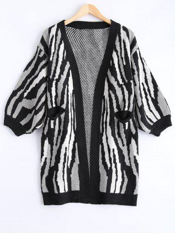 Outfit Collarless Zebra Pocket Design Cardigan