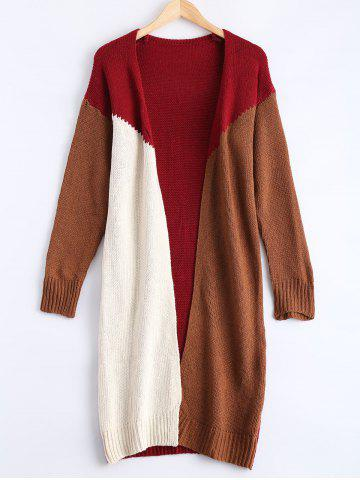 Outfits Collarless Contrast Color Patchwork Cardigan