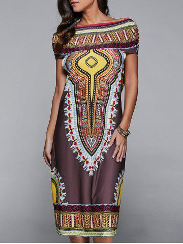 Hooded Ethnic Print Dress - Brown - Xl