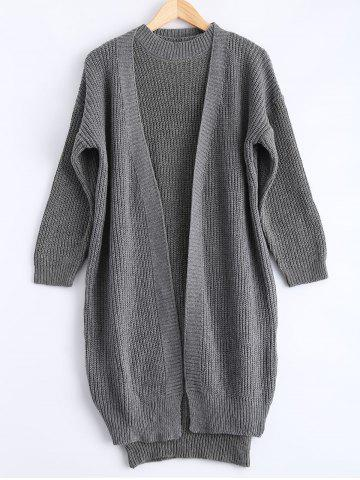 Hot Ribbed Knitted Dress + Loose-Fitting Cardigan Twinset