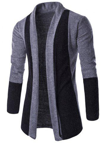 Trendy Slim-Fit Color Block Shawl Collar Cardigan LIGHT GRAY 2XL
