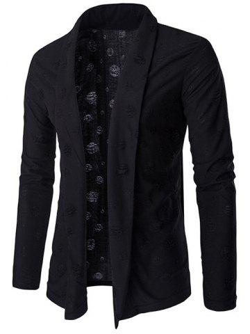 Outfits Distressed Shawl Collar Drape Cardigan - M BLACK Mobile