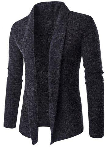 Hot Slim-Fit Shawl Collar Long Cardigan DEEP GRAY 2XL