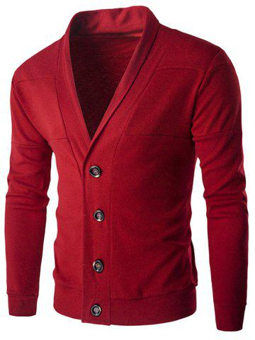 Slim-Fit Shawl Collar Button Up Cardigan - Red - L