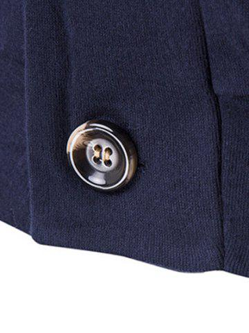 Affordable Slim-Fit Shawl Collar Button Up Cardigan - 2XL CADETBLUE Mobile