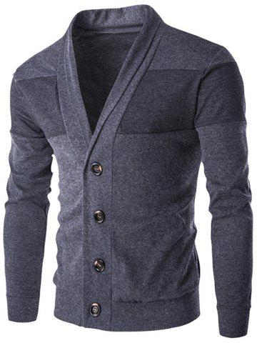 Discount Slim-Fit Shawl Collar Button Up Cardigan - 2XL DEEP GRAY Mobile
