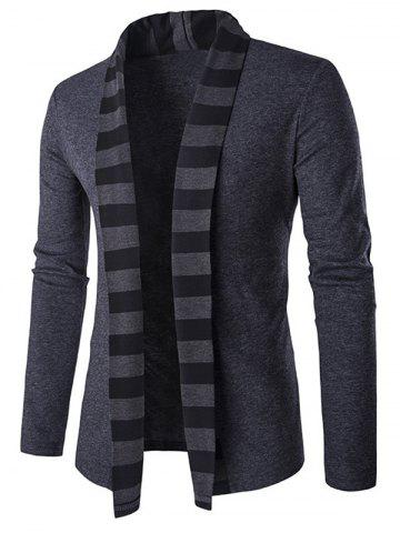 Slim-Fit Striped Shawl Collar Cardigan - Gray - L